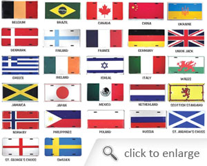 International Country Flag License Plates
